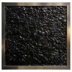 Black Tar Painting on Wood Framed in Metal, 21st Century by Mattia Biagi