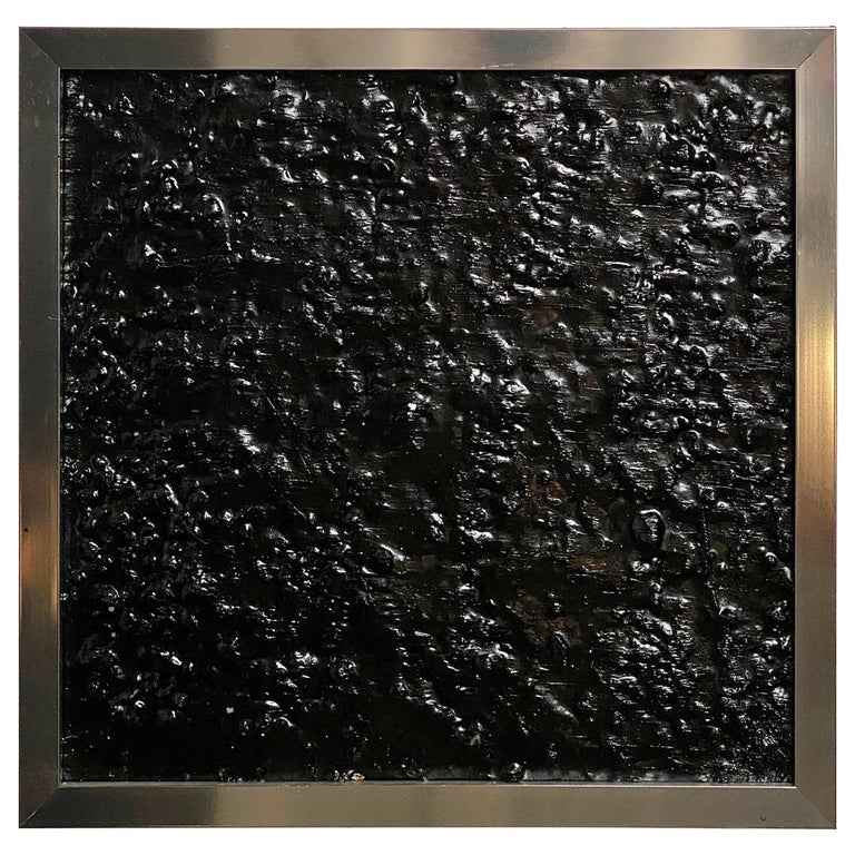Black Tar Painting on Wood Framed in Metal, 21st Century by Mattia Biagi For Sale