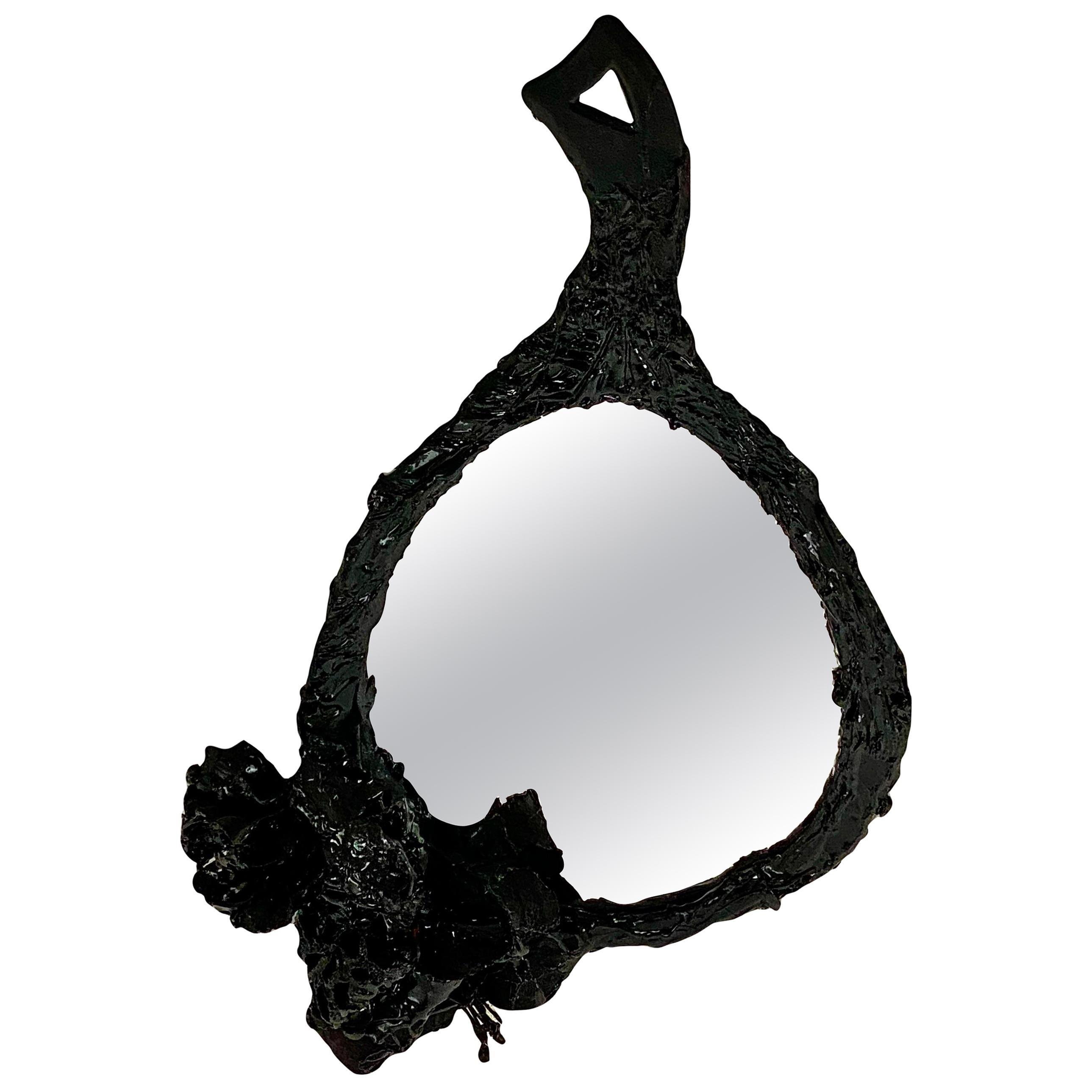 Black Tar Plastic Vintage Hand Mirror, 21st Century by Mattia Biagi