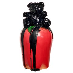 Black TAR Teddy and Red Apple Sculpture, 21st Century by Mattia Biagi