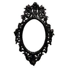 Black Tar Wood Vintage Mirror Frame, 21st Century by Mattia Biagi