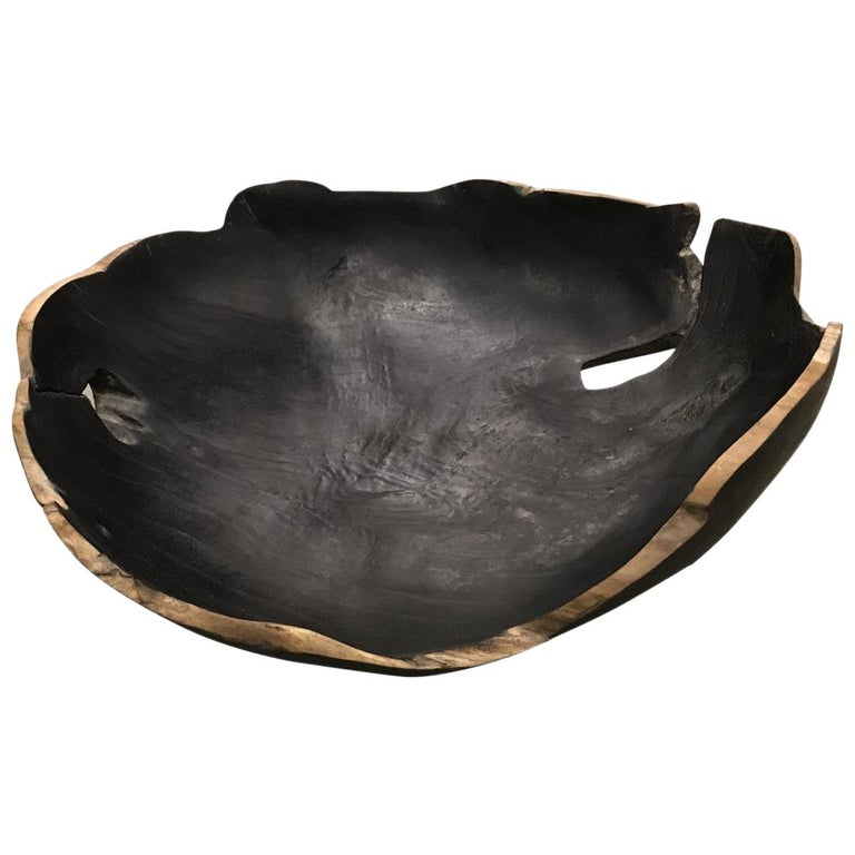 Black Teak Bowl, Indonesia, Contemporary For Sale