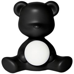 In Stock in Los Angeles, Black Teddy Bear Lamp LED Rechargeable, Made in Italy