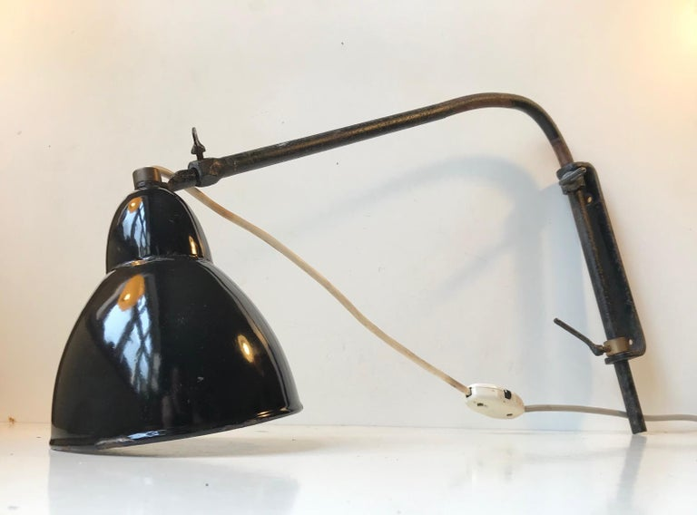 Mid-20th Century Black Telescopic Bauhaus Wall Light, Germany, 1930s For Sale