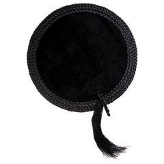 Black Tie carpet, Hand-Knot in Silk, Leather and Ceramic, 100 Kpi, Nika Zupanc