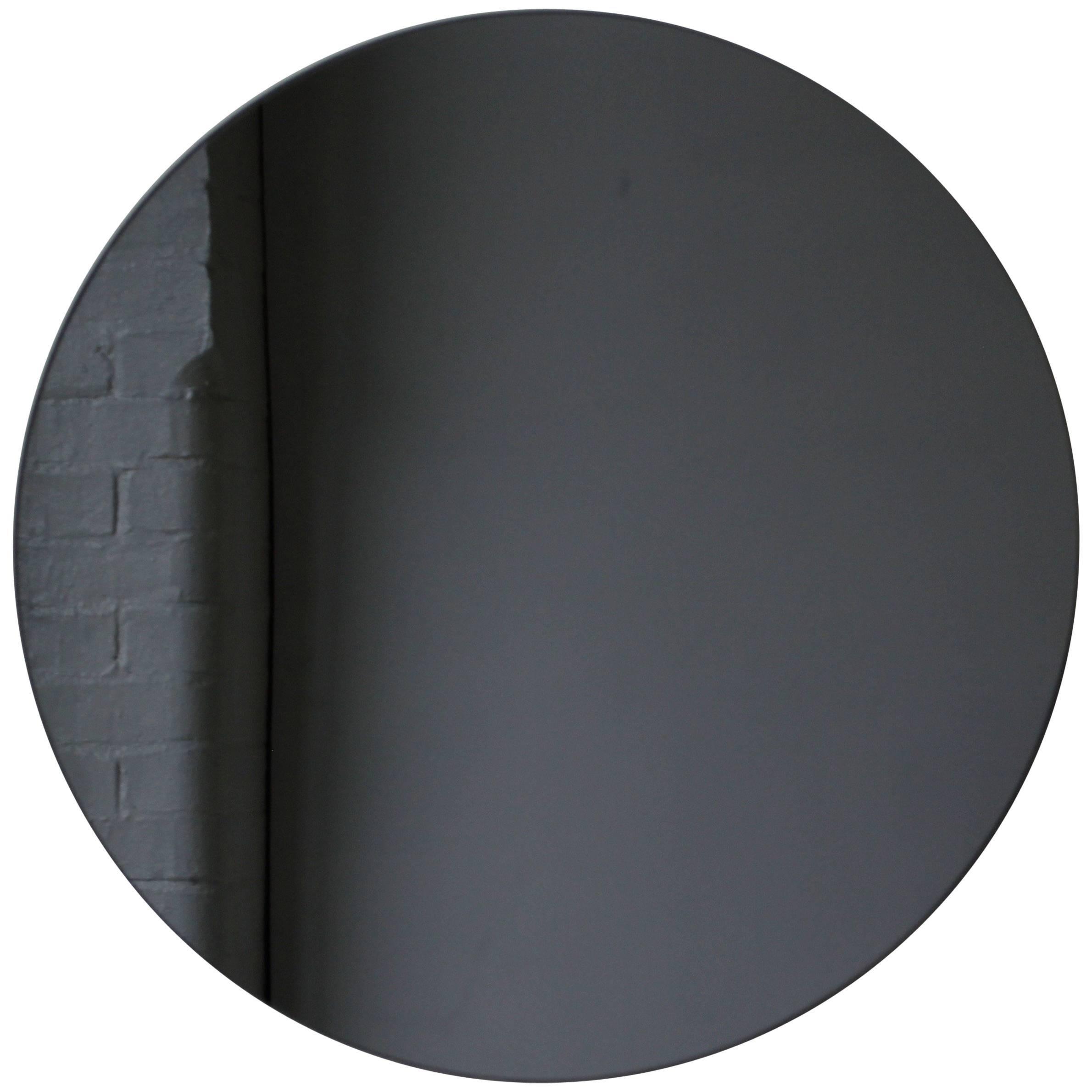 Orbis™ Black Tinted Round Frameless Contemporary Mirror - Small