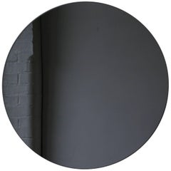 Orbis™ Black Tinted Round Frameless Contemporary Mirror - Small