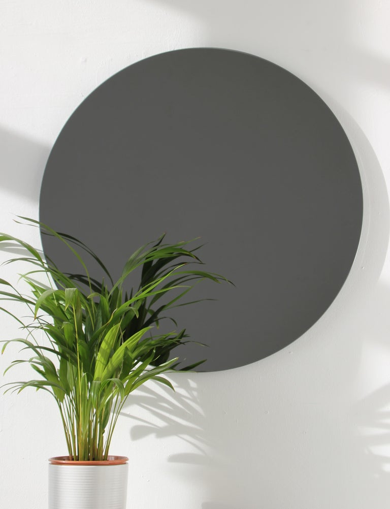 Blackened Modern Black Colour Tinted Orbis™ Circular Shaped Mirror Frameless, Handcrafted  For Sale