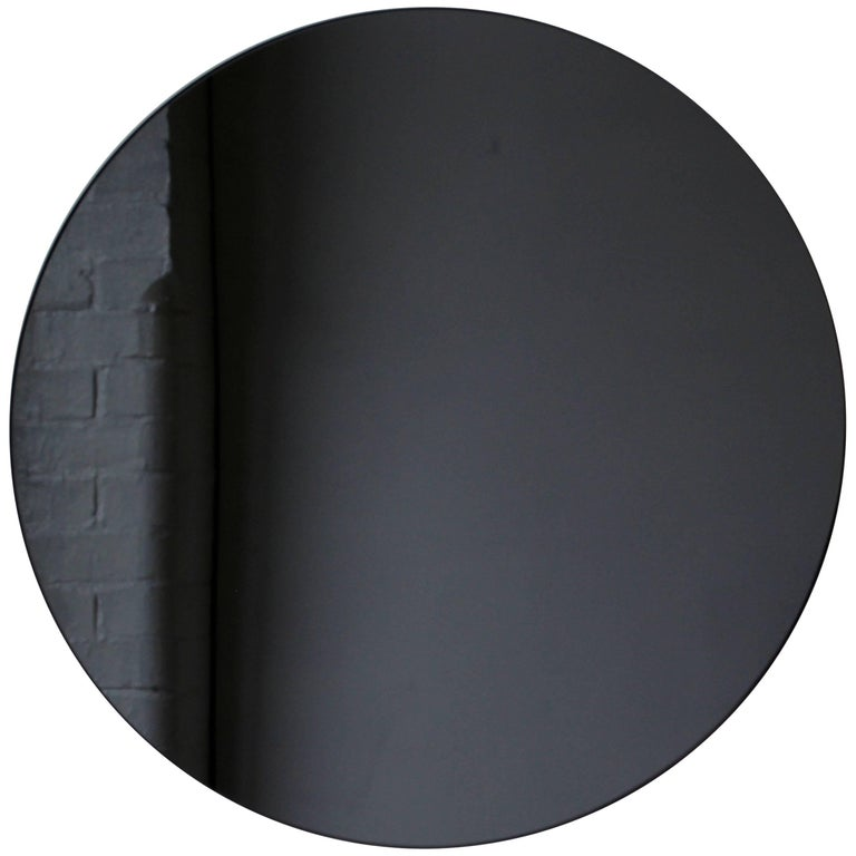 Modern Black Colour Tinted Orbis™ Circular Shaped Mirror Frameless, Handcrafted  For Sale