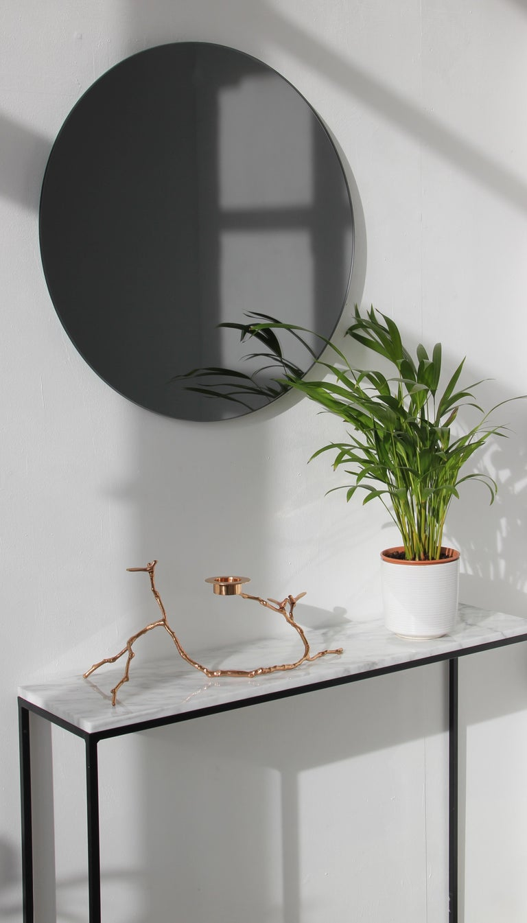 Contemporary Modernist Black Tinted Orbis™ Round Mirror Frameless, Medium, Customizable For Sale