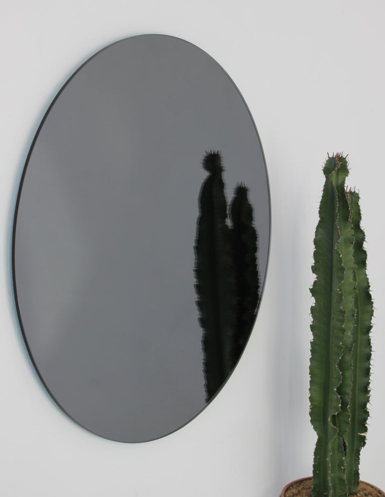 Modernist Black Tinted Orbis™ Round Mirror Frameless, Medium, Customizable For Sale 1