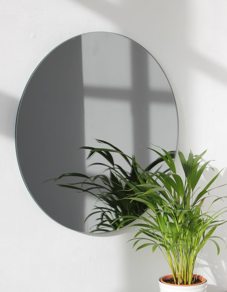 British Modernist Black Tinted Orbis™ Round Mirror Frameless, Medium, Customizable For Sale