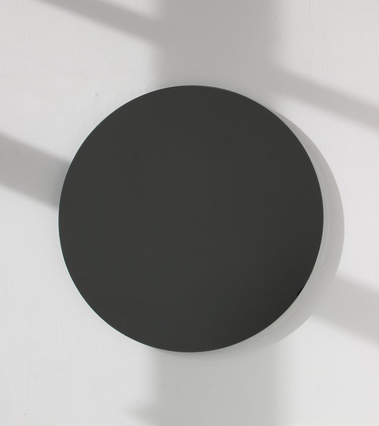 Blackened Modernist Black Tinted Orbis™ Round Mirror Frameless, Medium, Customizable For Sale