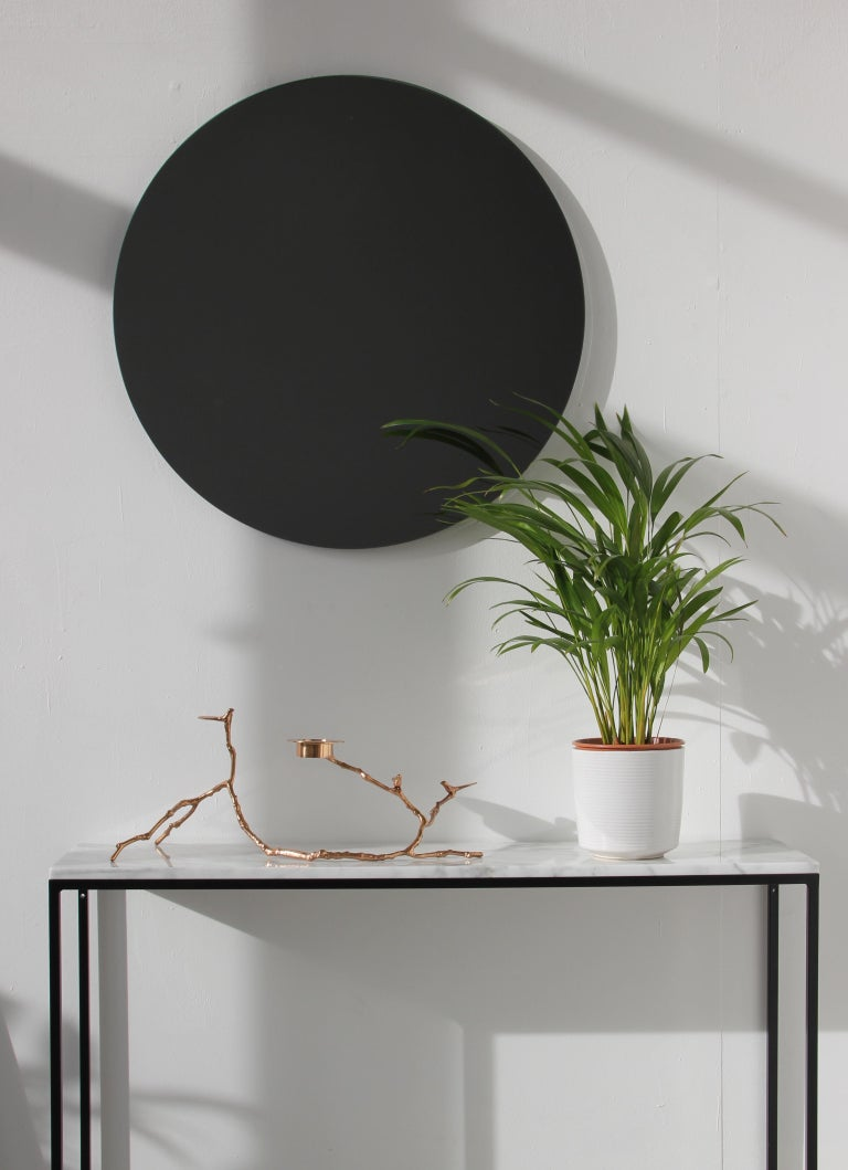 Modernist Black Tinted Orbis™ Round Mirror Frameless, Medium, Customizable In New Condition For Sale In London, GB