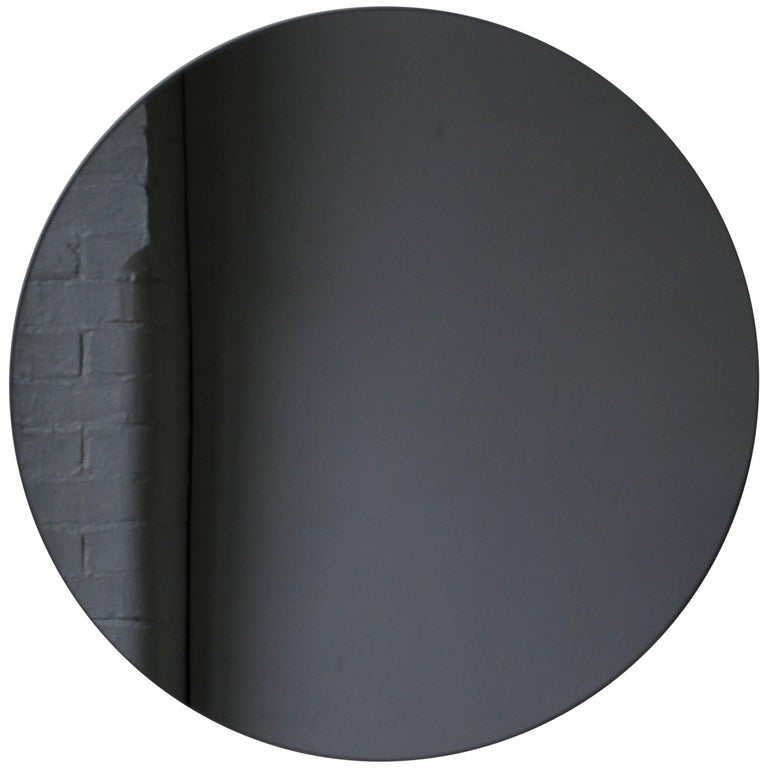 Modernist Black Tinted Orbis™ Round Mirror Frameless, Medium, Customizable For Sale