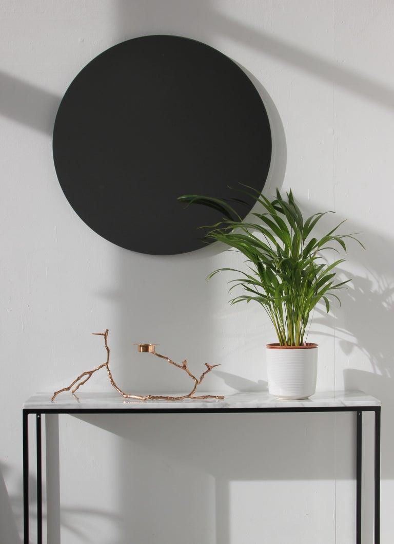 Bespoke Contemporary Black Tinted Orbis Round Mirror