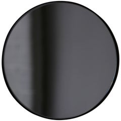 Orbis™ Black Tinted Round Minimalist Mirror with a Black Frame - Small