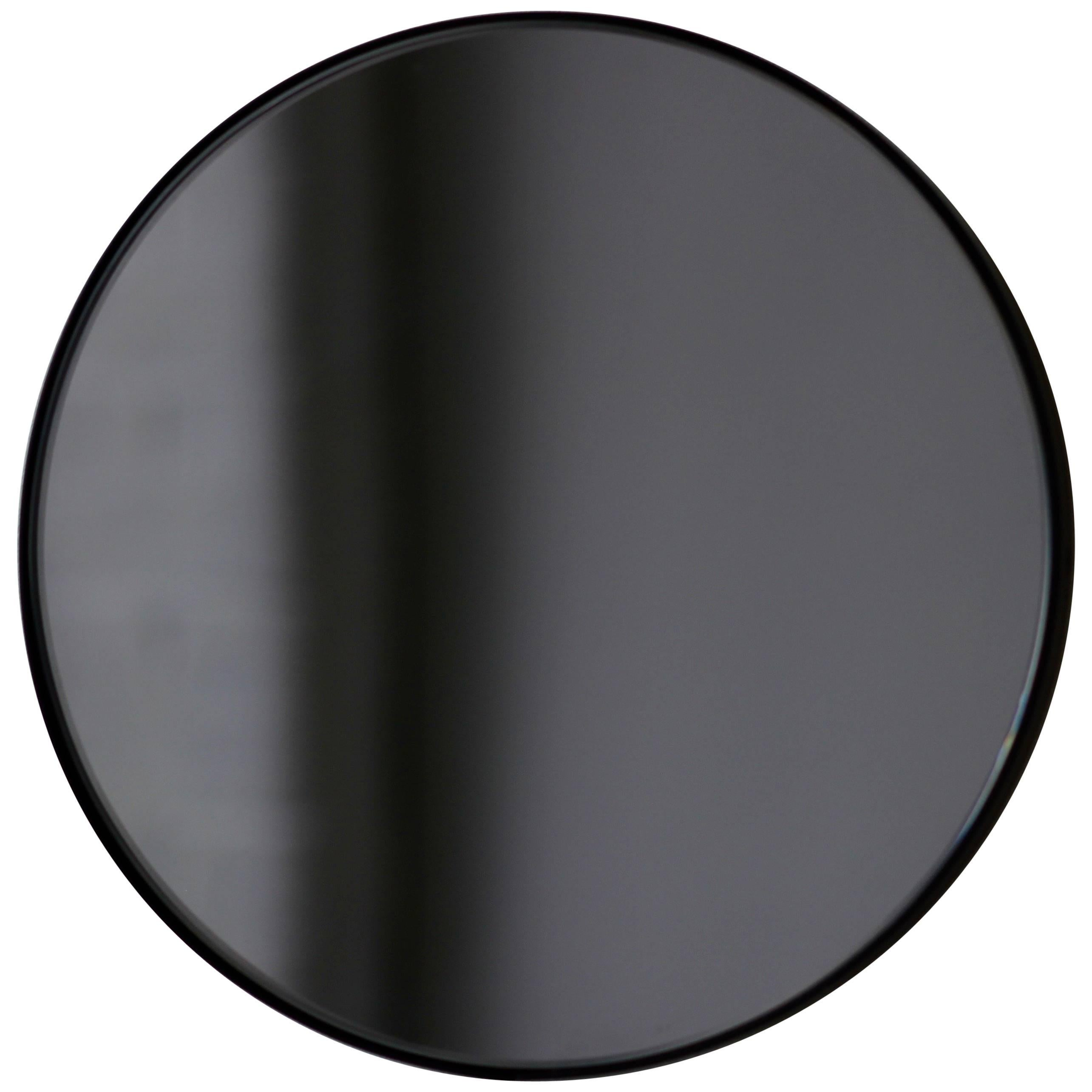 Orbis™ Black Tinted Modern Handcrafted Circular Mirror with Black Frame