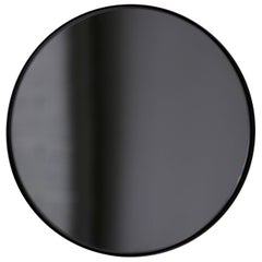 Orbis™ Black Tinted Modernist Round Mirror with Black Frame - Medium