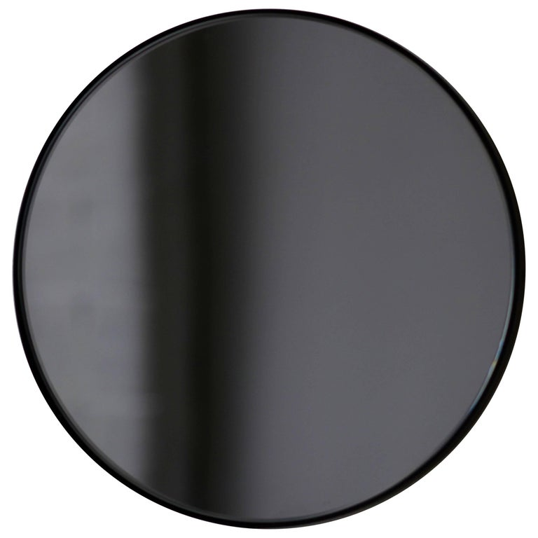 Black Tinted Orbis Round Mirror With Black Frame Dia 60cm 23 6