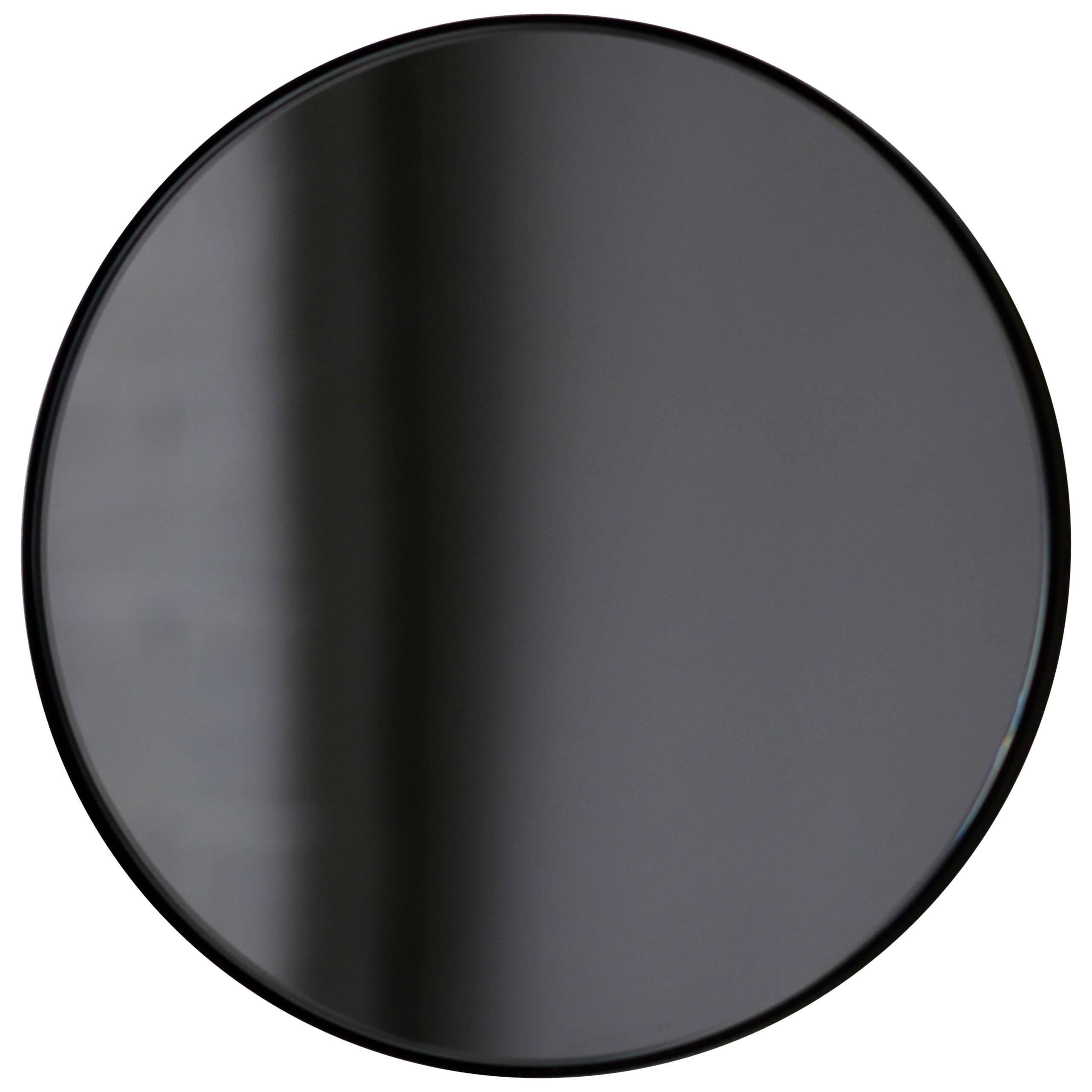 Orbis™ Black Tinted Bespoke Contemporary Round  Mirror with Black Frame - Large