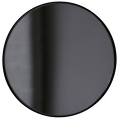 Bespoke Contemporary Black Tinted Orbis™ Round  Mirror with Black Frame, Large
