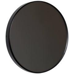 Modern Art Deco Black Tinted Orbis™ Round Oversized  Mirror with Black Frame