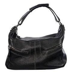 Black Tod's Pebbled Leather Shoulder Bag