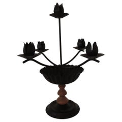 Black Tole and Wood Five-Arm Candleholder