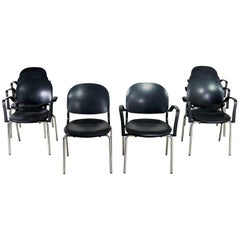 Black Torsion Chairs by Giancarlo Piretti for Ki Set of Eight