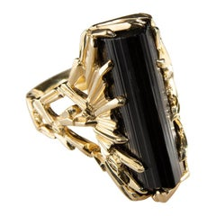 Black Tourmaline Crystal Ring in Yellow 18K Gold One of a Kind Schorl Ring