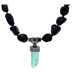 Black Tourmaline Necklace with a Silver and 18k Green Tourmaline Crystal Clasp