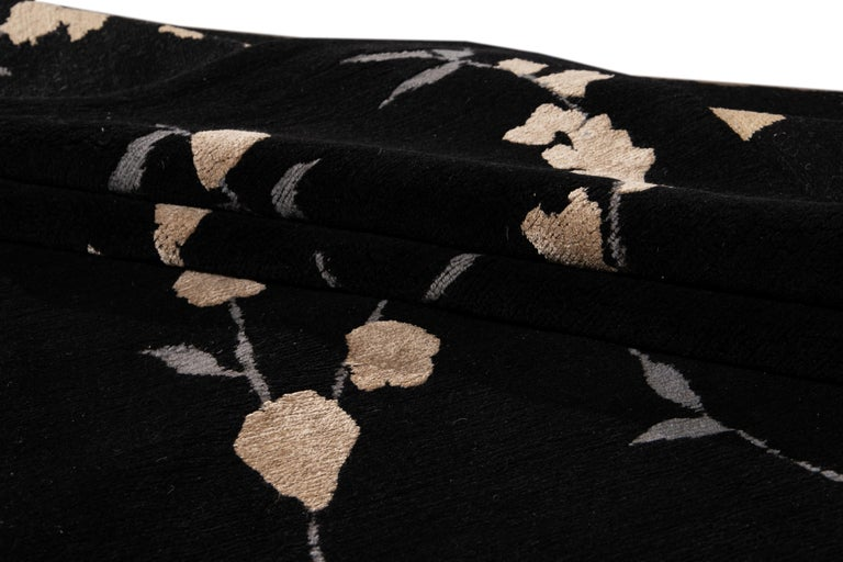 Black Transitional Tibetan Wool and Silk Rug For Sale 6