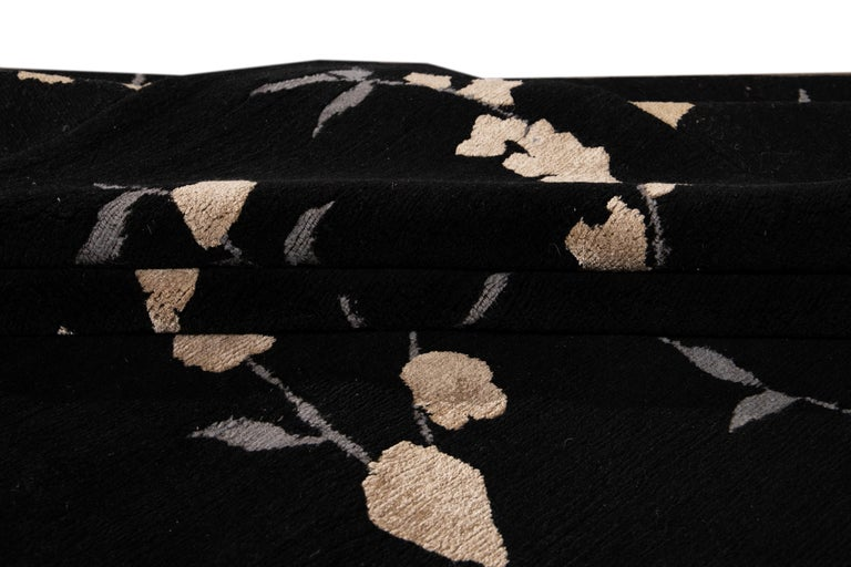 Black Transitional Tibetan Wool and Silk Rug For Sale 1