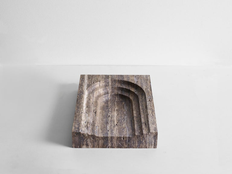 This sculptural item is handmade in Sydney Australia.  Thoronet dish, shares its' name and arched lines with the Abby in the south of France.   Each piece is manufactured in natural stone, meaning variations of the pattern in the stone will