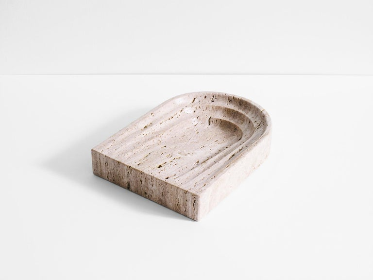 Marble Black Travertine Stone Dish by Henry Wilson For Sale