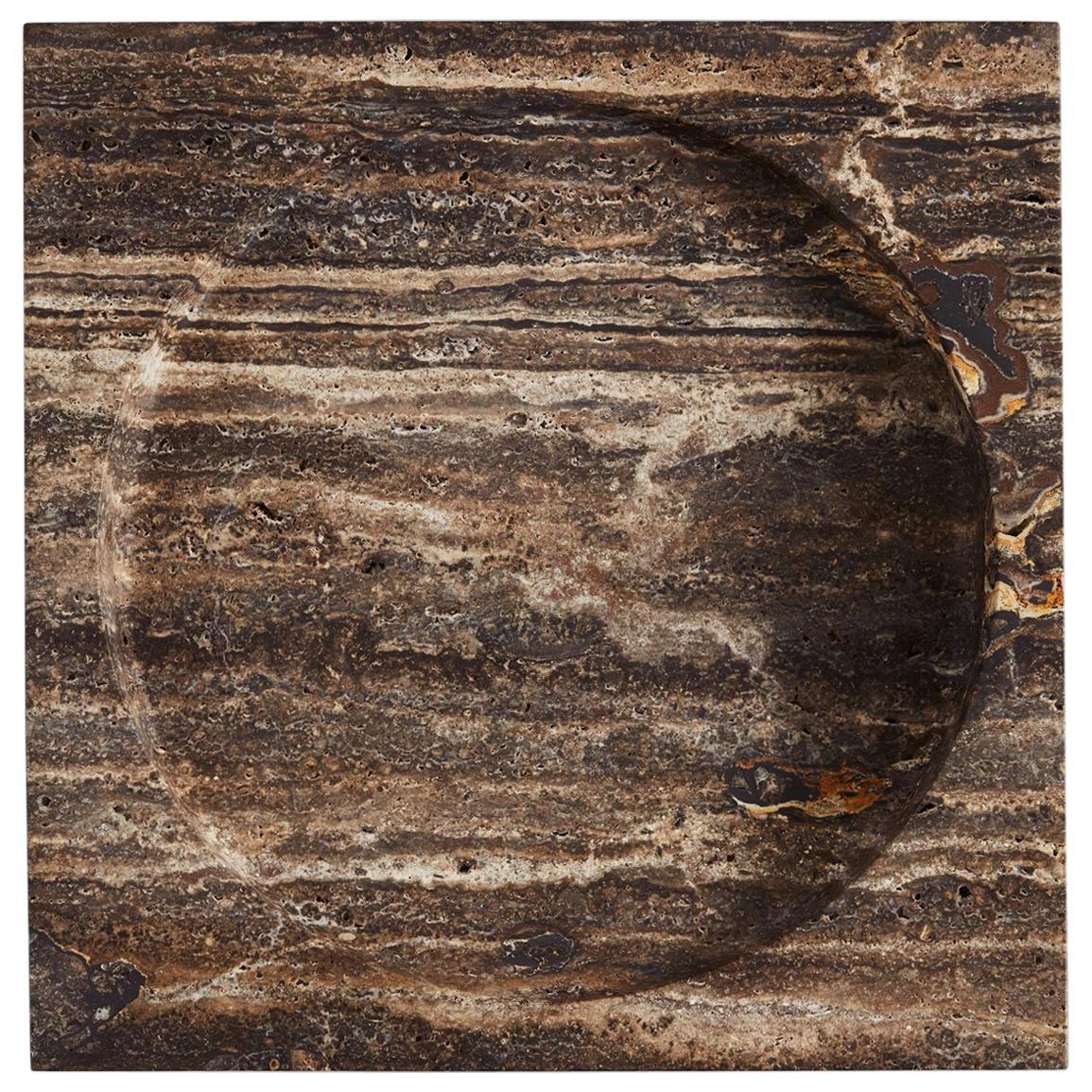 Black Travertine Stone Vide Poche by Henry Wilson