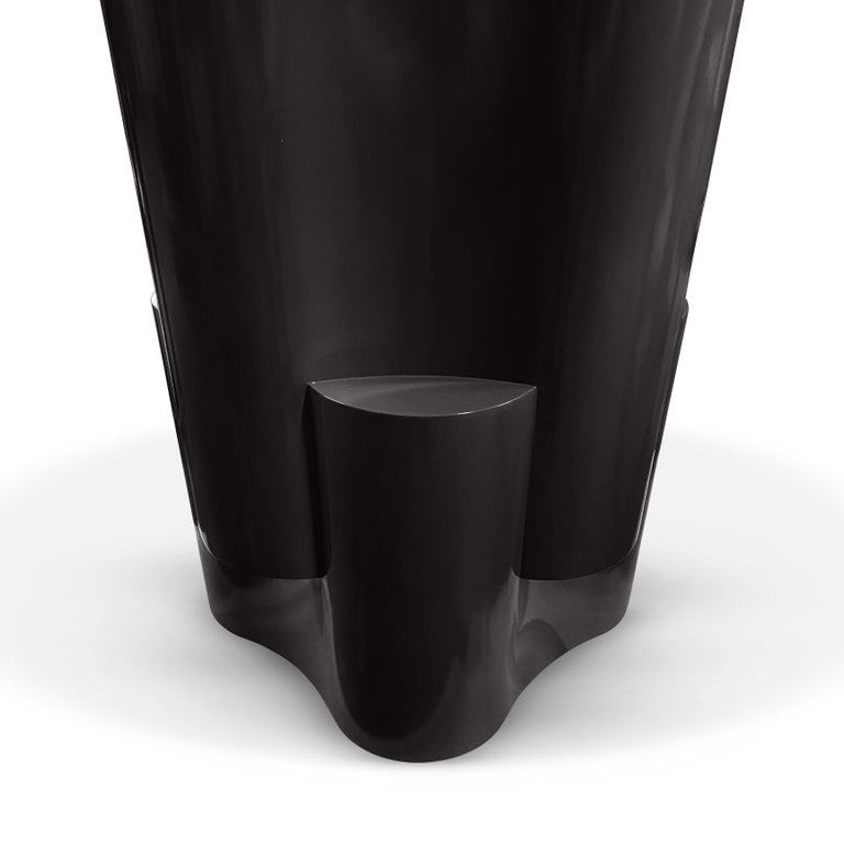 American Black Tsugime Lacquered Pedestal Table by Chapter & Verse For Sale
