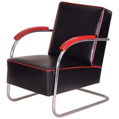 Black Tubular Steel Cantilever Armchair, Chrome, New Leather and Upholstery