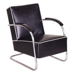 Black Tubular Steel Cantilever Armchairs, Chrome, New Leather and Upholstery