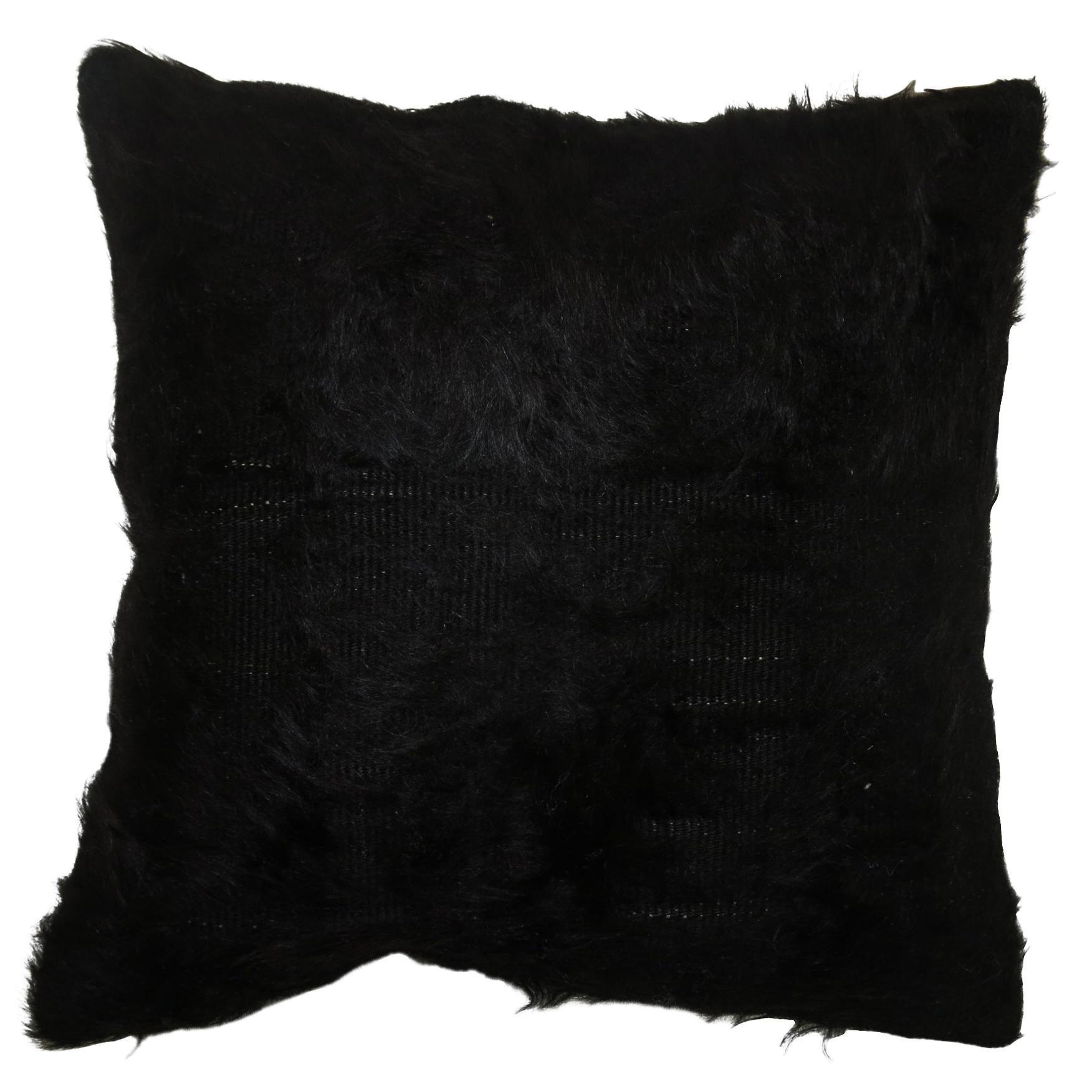 Black Turkish Mohair Rug Pillow