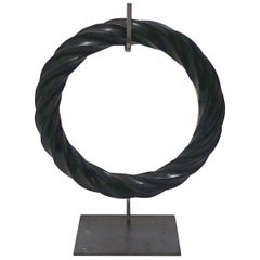 Black Twisted Marble Ring Sculptures on Stand, China, Contemporary