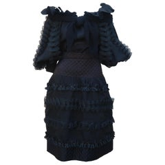 Black Two Piece Italian Tiered Dress With Ruffles, 1980's