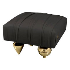 Black Upholstered Leather Pouf with Gold Finish Brass Legs, Made in Italy