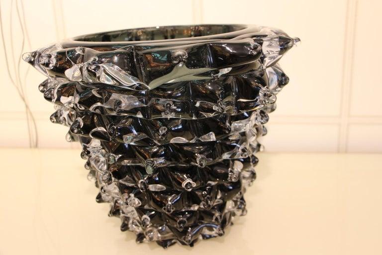 Italian Black Vase in Murano Glass with Spikes Decor, Barovier Style, Rostrato