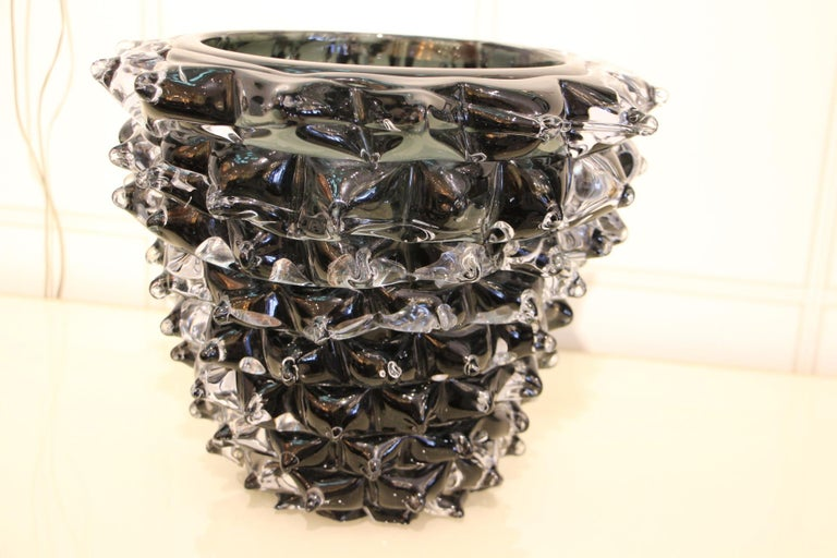 Black Vase in Murano Glass with Spikes Decor, Barovier Style, Rostrato 2
