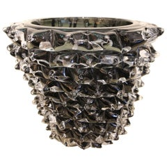 Black Vase in Murano Glass with Spikes Decor, Barovier Style, Rostrato