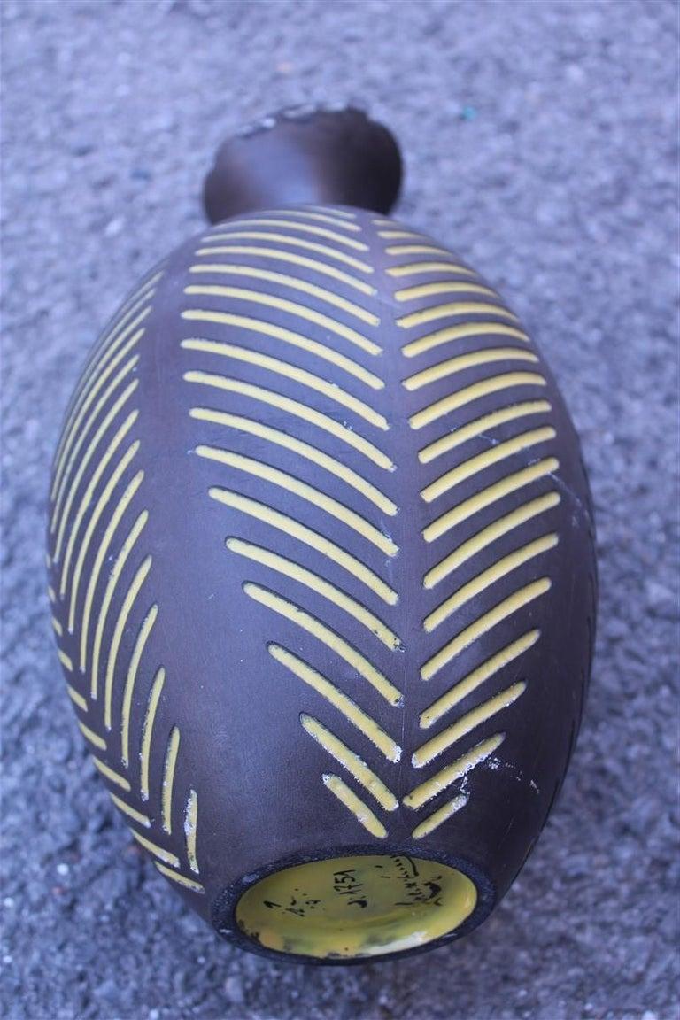 Mid-20th Century Black Vase Zaccagnini Italian Artis Midcentury Design For Sale