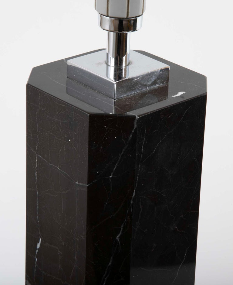 Black Veined Marble Lamp Attributed to T.H. Robsjohn-Gibbings For Sale 5