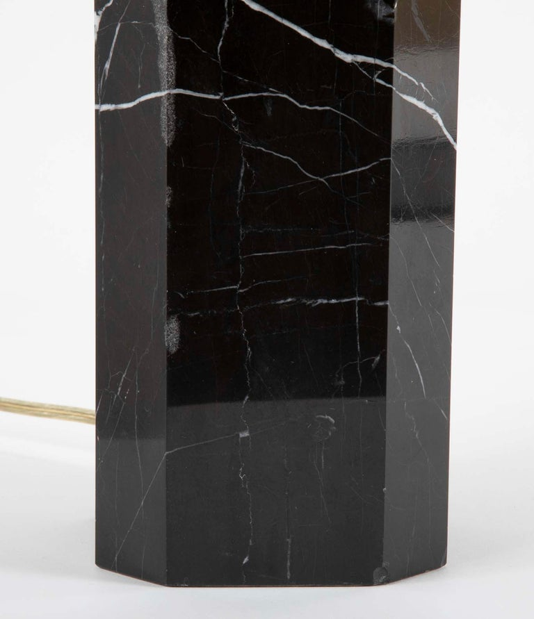 Black Veined Marble Lamp Attributed to T.H. Robsjohn-Gibbings In Good Condition For Sale In Stamford, CT